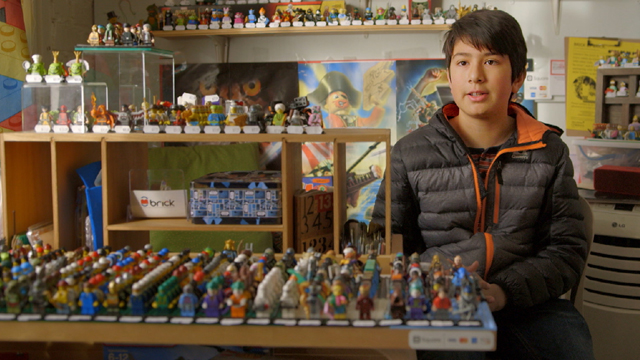Eric shares his Biz Kid$ talent from the inside of his store, where he sells action figures and other products secondhand.