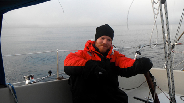 Matt Rutherford sailing on the Beaufort Sea.