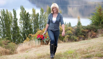 Annabel Langbein in her lake garden