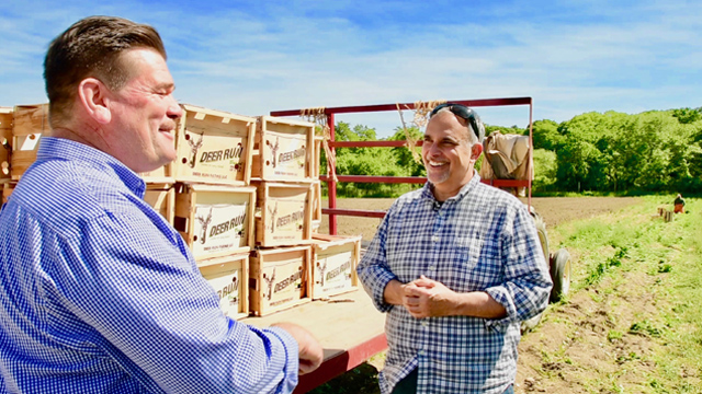 George Hirsch visits local producers for fresh ingredients, highlighting the benefits of living farm to table.