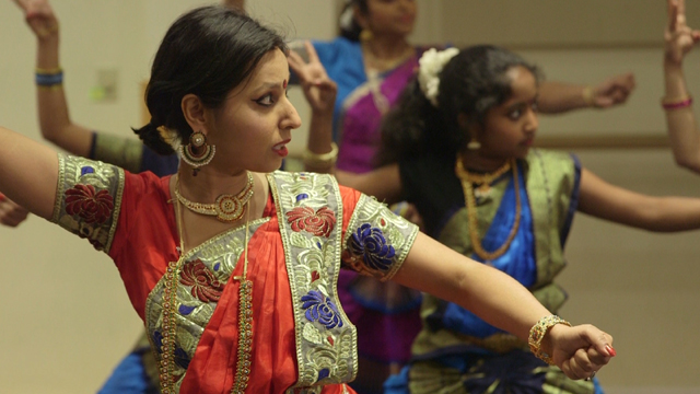Anwesha Dutta dances Bharatanatyam, a classical Indian dance form.