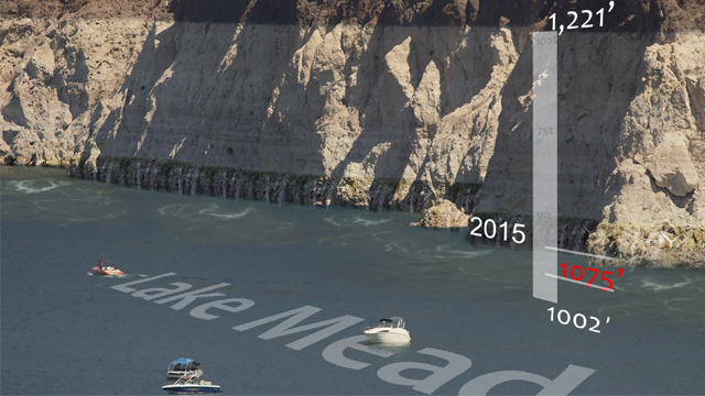 A graphic of Lake Mead's falling water levels.
