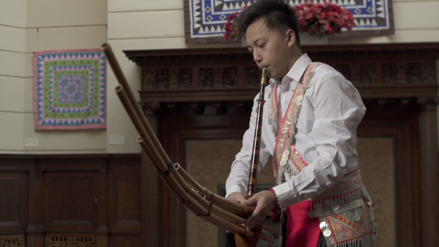Chai Lee performs and teaches the significance of the instrument Qeej.