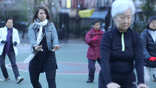 Mickela learning tai chi in Columbus Park in Manhattan's Chinatown.