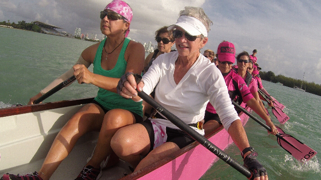 Team SOS practice at the Miami Rowing Club in Key Biscayne.