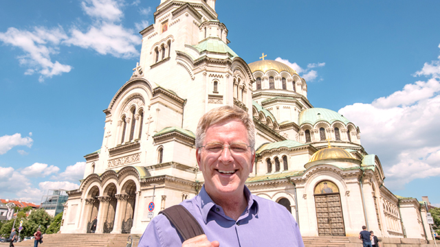 Rick in front of The St. Alexander Nevsky Cathedral in Bulgaria.