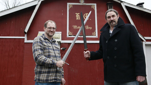 Swordsmith Kevin Cashen and host Eric Gorges
