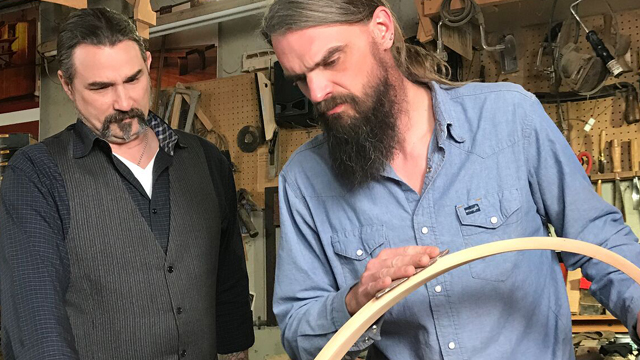Eric Gorges and award-winning furniture maker Mark Whitley make a table together.