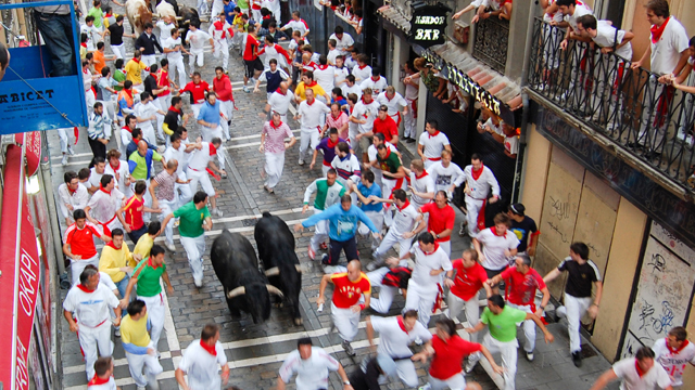 Running of the Bulls in run in Pamplona, Spain.
