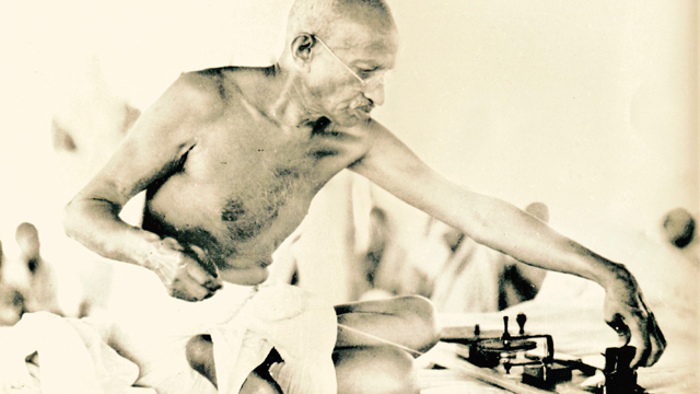 Gandhi spinning as a daily meditation practice and a way for Indians to take back control of their textile industry from the British.