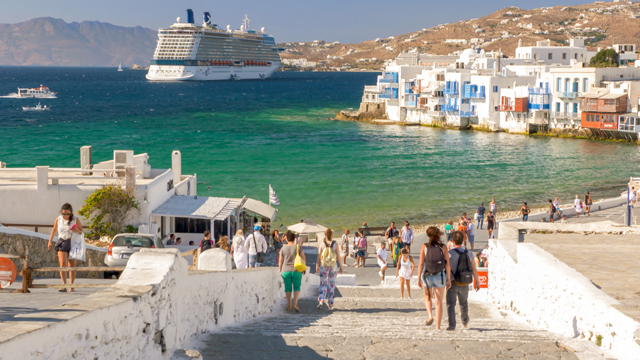 Cruise ship anchored off of Mykonos