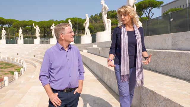 Rick with local expert Francesca Caruso at Mussolini's Stadio dei Marmi, at the Foro Italico in Rome.