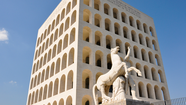 The Palace of Italian Civilization in the E.U.R. district of Rome.
