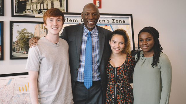 Harlem Children's Zone President Geoffrey Canada, second from left, poses with poses with James, Estephanie and Esther after hs interview about activism.