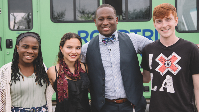 Second from right, Tristan Love, who made it out of gang violence to become a vice principal, poses with the road-trippers before they take off from Houston.