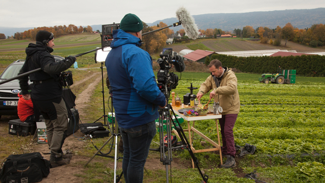 The crew films host Andreas Viestad preparing a fresh salad in the fairytale land of Ringerike, Norway.