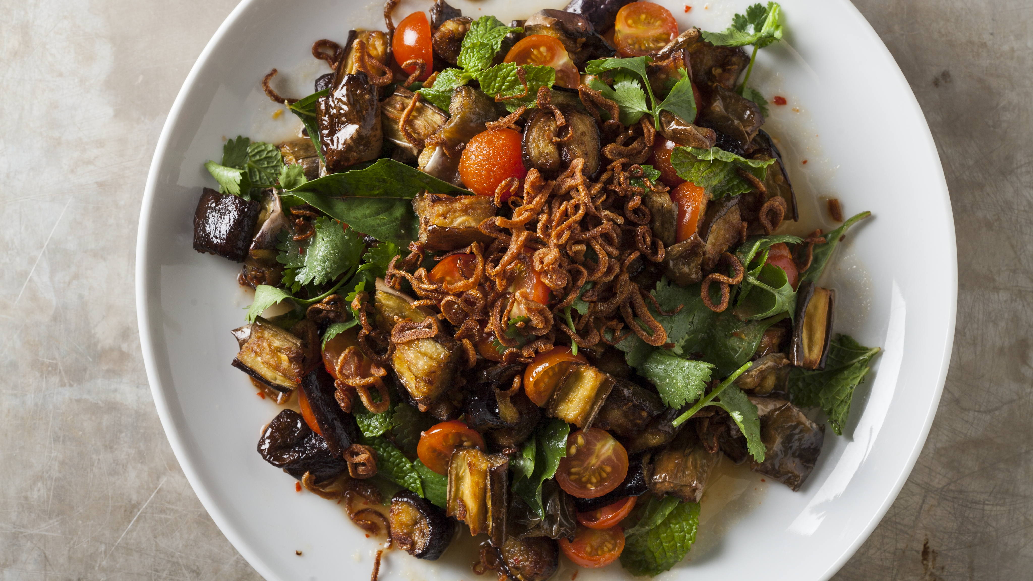 Join the test kitchen for Crispy Thai Eggplant Salad