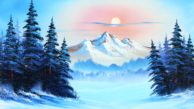 Bob Ross creates tranquil natural scenes, from stately mountains to snow-covered forests