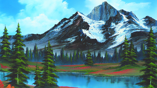 Grab your painting knife to create glacier-like peaks with Bob Ross in this icy panorama