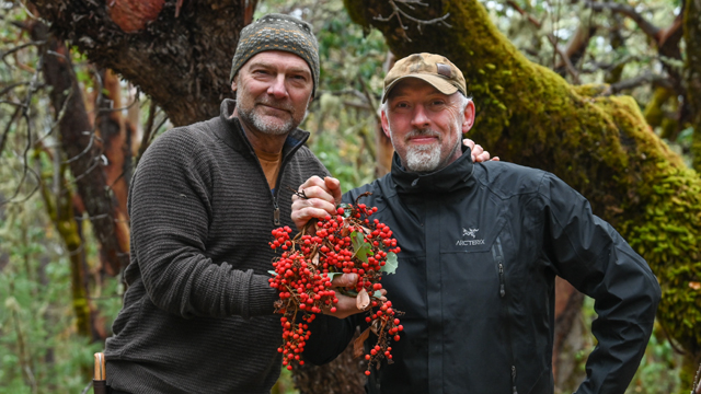 Host Les Stroud with chef Paul Rogalski