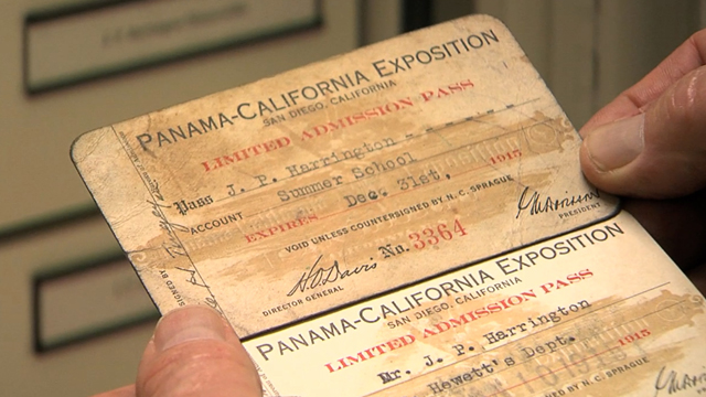 J.P. Harringtons Panama–California Exposition pass circa 1915 housed at the Santa Barbara Natural History Museum. The Panama-California Exposition took place over a three year period between 1914 and 1917 to celebrate the opening of the Panama Canal. Photo Credit: Daniel Golding